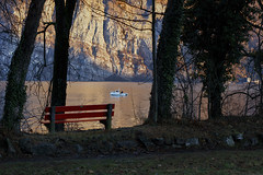 Lake Walen (Thomas Mülchi) Tags: mols cantonofstgallen switzerland 2017 lake lakewalen churfirstenmountainrange appenzellalps trees bench parkbench sunny boat motorboat sanktgallen ch