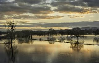 Sunset over a flood