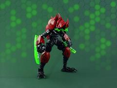Beetle - Plague Mech: Theta (Anthony (The Secret Walrus) Wilson) Tags: lego moc creature robot bug beetle insect plague mech afol futuristic scifi red green