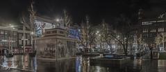 Another look at Rembrandtplein at night. (Digifred.) Tags: igifred 2018 amsterdam nikond500 nederland netherlands holland iamsterdam straat street city grachten streetphotography blackwhite blackandwhite monochrome toeristen candid rembrandtplein nacht avond night evening