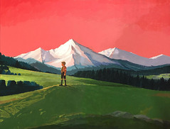 Book cover illustration for The Boy at the Top of the... (makoto_funatsu) Tags: illustration book cover drawing painting boy dog work bookcover coverillustration red sunset mountain tree life