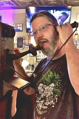 A friend took this of me (swampzoid) Tags: stonemountainpublichouse bar antique telephone crankphone crank talking man