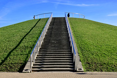 Stave Hill (Geoff Henson) Tags: hill artifical manmade view park grass sky rails london rotherhithe docklands steps path people 1000v40f