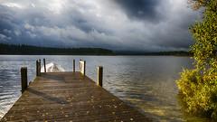 Harmonie (Fred&rique) Tags: lumixfz1000 photoshop hdr raw doubs hameau etang paysage nature automne orage lumière douceur arbres eau ponton bateau nuages ciel