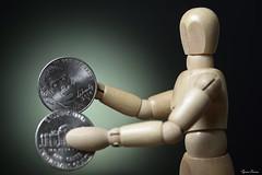 Two Nickels to Rub Together (Tyson J) Tags: select tyson nikon green sb800 d7100 tabletop woody wood money personalfinance nickel coins broke savings change poor