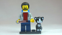 Brick Yourself Custom Lego Figure Guy with Lightsaber & Cute Cat