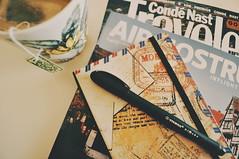 (Virginia Gz) Tags: magazines notebook pen mug tea indoor stilllife desk