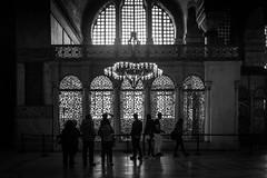 the lace of time (Özgür Gürgey) Tags: 2017 20mm ayasofya bw d750 hagiasophia nikon unesco voigtländer worldheritagesites architecture chandelier indoor people istanbul