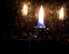 Flame (solsetimo) Tags: macro monday mondays macromondays macromonday flame fire zippo lighter wick spark granite reflections