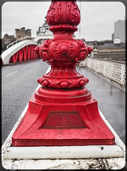 Swing Bridge. . . (CWhatPhotos) Tags: lamp post vented city newcastle upon tyne view photographs photograph pics pictures pic picture image images foto fotos photography artistic cwhatphotos that have which with contain gateshead wear north east england uk red paint work paintwork girders girder rivet rivets steel fence road bridge crossing street bridgestreet olympus penf pen f micro four thirds 43 camera 17mm f18 prime zuiko lens