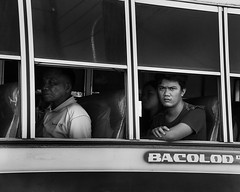 Maybe the Bus Was Late. (Beegee49) Tags: man unhappy angry staring bus public transport philippines