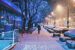 Blue Man (ewitsoe) Tags: winter snow canon ewitsoe street urban city cityscape pedestrian people walking warsaw warszawa poland polska capital canoneos6dii 50mm lseries day night afternoon sidewalk wander life live