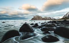Norway is a dream destination. (kolja_wi) Tags: norway lofoten landscape wallpaper beach color sony a6000 samyang nature blue red dark moody sea rocks mountain explore winter ice frozen