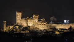 Castle in the Night (andbog) Tags: sony alpha ilce a6000 sonya6000 emount mirrorless csc sonya landscape paesaggio sonyα sonyalpha italy italia piedmont piemonte to canavese it sony⍺6000 sonyilce6000 sonyalpha6000 ⍺6000 ilce6000 16x9 169 widescreen architettura architecture castello castel wall remparts battlements merli merlons merlatura building night notte pavonecanavese dark longexposure apsc 55210mm sel55210 oss sel castle castell over100fav