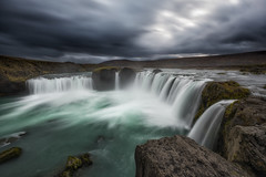 Waterfall Of The Gods (Mike Ver Sprill - Milky Way Mike) Tags: waterfall gods long exposure dark clouds cloudy rain cloud stormy godafoss iceland icelandic travel landscape nature water falls fall rocky rocks cliff edge ledge