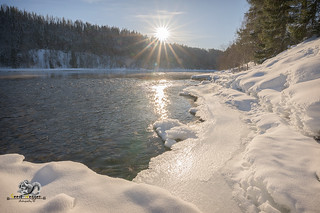 sun beams in swedish winter landscape