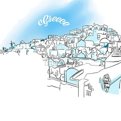 Sketch of Oia, Greece (Hebstreits) Tags: aegean architecture background beautiful beauty blue church culture cyclades design europe greece greek greeting illustration island landscape nature oia romantic santorini sketch summer tourism town traditional travel vacation vector view village water white