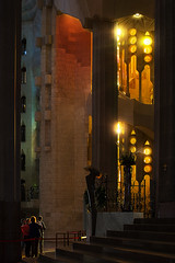 Hit by the light (Michel Couprie) Tags: europe spain espagne barcelona sagradafamilia church cathedral stairs light people architecture backlight vitrail canon eos couprie gaudi