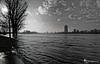 Rhein Hochwasser B/W