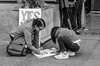 Finishing Touches (BW) (Kevin MG) Tags: womensmarch march losangeles signs protest women girls kids young youth cute pretty little equality demonstration metoo rights monochrome bw blackandwhite blackwhite