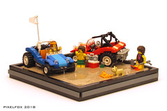 "Meyers Manx ""Beach Buggy"" (Pixel Fox) Tags: lego beach buggy offroad vignette diorama sand vw manx meyers"