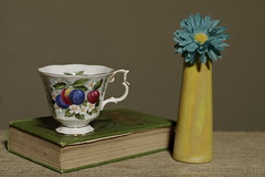 Still Life with Book and Cup (N.the.Kudzu) Tags: home tabletop stilllife cup book vase flower pentaxk3