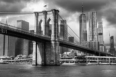 Brooklyn Bridge (ipadzwochris) Tags: skyscraper downtown harbour borderline waterview bw blackandwhite architecture ferry skyline boattrip america usa buildings bridges street town city travel brooklynbridge brooklyn newyorkcity nyc newyork ny