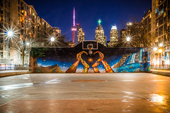 David Crombie Park @ Night (A Great Capture) Tags: night cntower toronto basketball court downtown agreatcapture agc wwwagreatcapturecom adjm ash2276 ashleylduffus ald mobilejay jamesmitchell on ontario canada canadian photographer northamerica torontoexplore winter l'hiver hoop dreams hoopdreams basketballcourt nothingbutnet torontoskyline viewsfromthe6 mural downtowntoronto davidcrombiepark esplanade