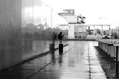The man with the suitcase (pascalcolin1) Tags: paris13 bnf homme man pluie rain reflets reflection valise suitcase mur wall photoderue streetview urbanarte noiretblanc blackandwithe photopascalcolin 50mm canon50mm canon