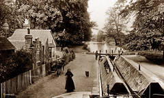 Canal Lock, Watford (footstepsphotos) Tags: canal lock hertfordshire watford inland waterway boat barge cottage water horse towpath narrowboat gate old vintage photograph past historic transport england