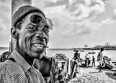 Basir at Soumbedioune Fish Market in Dakar (in Explore #366 2/11/18) (stevebfotos) Tags: people fishmarket senegal dakar explored in explore black white monochrome bw africa fishing village