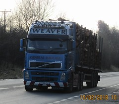 Weaver transport DX08 BSY at Oswestry (Ex Steve Swain) (joshhowells27) Tags: lorry truck volvo fh flatbed timber wood logs whitchurch weaver