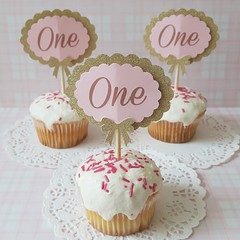 First Birthday Pink And Gold Party Cake Picks Cupcake Toppers (Di Anna's Wonderland) Tags: baby shower decoration cupcake toppers cake picks first birthday one