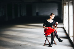 Red planet (dawolf-) Tags: portrait vienna red dress woman girl actress chair space people indoor canon naturallight