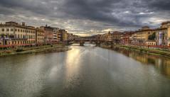 Arno river (Jan Kranendonk) Tags: florence firenze italy italian europe arno river pontevecchio bridge cityscape cloudy hdr