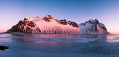 Vesturhorn Mountains - Iceland - Landscape photography (Giuseppe Milo (www.pixael.com)) Tags: photo landscape winter nature reflections outdoor panorama snow iceland travel pink photography mountains sky sunrise vesturhorn europe geotagged ice is onsale portfolio
