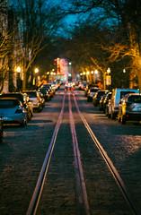 O Street (MikeSpeaks) Tags: streetcar track georgetown washingtondc dusk citycolor city urban night