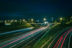 Busy hours on the highway (Julien C. Viciana) Tags: nightshot light canoneos7d highway road trainée rainy tokina 1116mm f28