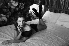 Girl with rose no. 3 (nancy_mic) Tags: blackandwhite bw blackwhite beauty beautiful nancymic nancymicheals night boudoir lingerie fräuleincouture leedisanti portland dancer womenphotographers beautifulgirl beautifulwomen beachhouse boots portlandphotographer
