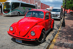 IMG_0300 Red VW (Cyberlens 40D) Tags: mexico yucatan valladolid red bug old cars redbug vws streets vehicles sunny hot cities towns sightseeing travel destinations
