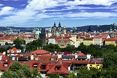 Rooftops of Prague (tomas.jezek) Tags: prague czechia rooftops red city cityscape trees nature urbannature buildings green blue architecture history