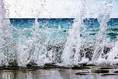 Waters Edge (marksapienza) Tags: wave sea beach splash shore fast exposure abstarct art quay