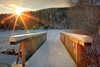 Morning light on the wooden bridge (Bernhard Sitzwohl) Tags: bridge winter snow ice sunburst sun outdoor nature landscape pack lake