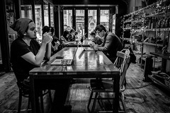 saturday afternoon coffee shop (rick miller foto) Tags: coffee shop fujifilm x70 black white bw mono monotone queen street west queenw toronto canada downtown hang out wifi saturday afternoon