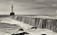 The Beast from the East (PeskyMesky) Tags: beastfromtheeast aberdeen aberdeenharbour southbreakwater storm water lighthouse scotland flickr march 2018 canon canon6d monochrome blackandwhite