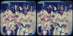 Ooh La La (sleightman 3D) Tags: allrightsreserved copyrightcarlwilson 3d 3dphotography stereoview stereo stereoscopic stereogram sleightman stereoscope stereocard crosseye crossview depth women girls models moped mopeds french paris entertainers pose posed outdoors group cute pretty old aged tinted sunglasses colorful