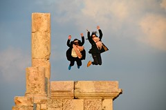 Herculean Leap (Pedestrian Photographer) Tags: hercules temple citadel amman jordan feb february 2018 women girls jump jumpin jumping ladies roman ruins ruin sky clouds dsc5841 ribbet