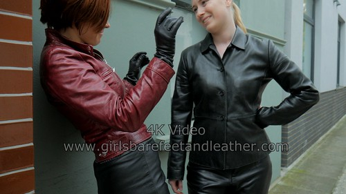 official photos official images nice shoes Girl in leather pants with leather skirt leather jacket and ...