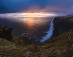 Sunset on Reynisfjara (Mika Tuomela) Tags: sunset sunlight sunsetphotography sunsetcolours sunrisessunsets iceland blacksand reynisfjara vik southerniceland beach sea seascape landscape landscapephotography cliffs