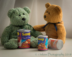 We Don't Have Mouths (HTBT) (13skies) Tags: soup soupison eating mouth mouths brownbear greenbear discussion talking expressing opinion teddybeartuesday happy happyteddybeartuesday bears windowlight food cooking stove kitchen